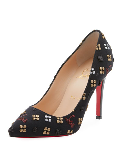 Pigalle 100mm Jacquard Loubi In The Sky Red Sole Pumps