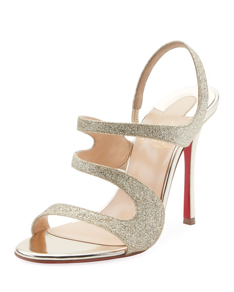 Christian Louboutin Tonic Glitter Red Sole Sandal