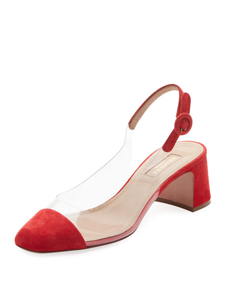 Optic Suede Pvc Slingback Pumps, Red