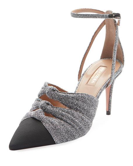 Mondaine Glitter Mid-Heel Ankle-Wrap Pumps, Silver