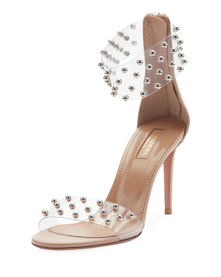 Illusion Mid-Heel Clear Ankle-Wrap Sandal, Pink