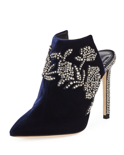 Caroline High-Heel Velvet Mules with Crystal Peonies