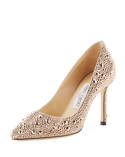 Romy 85mm Satin Pumps with Hotfix Crystals