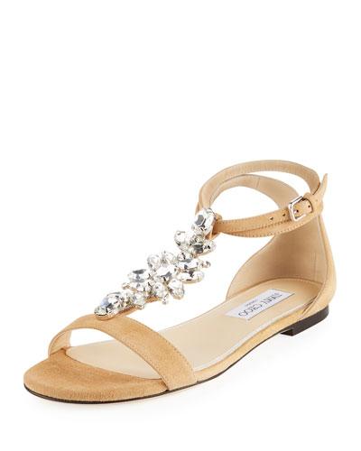 Averie Flat Embellished Suede T-Strap Sandal