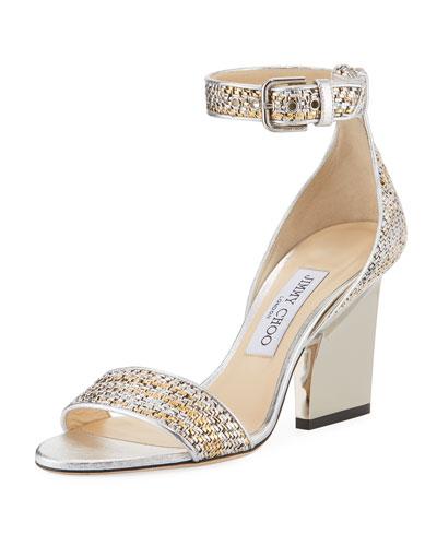 Edina 85mm Woven Metallic Sandal
