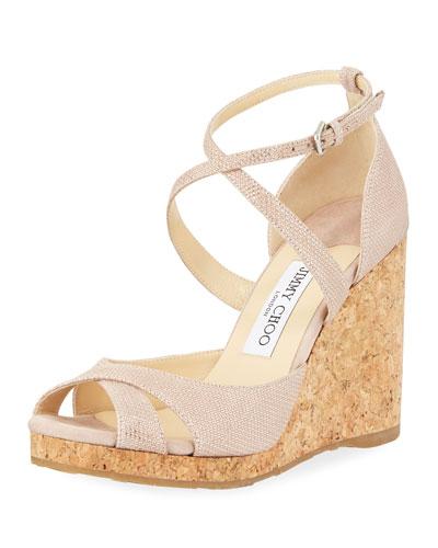 Alnah Gou Glitter Mesh Wedge Sandal