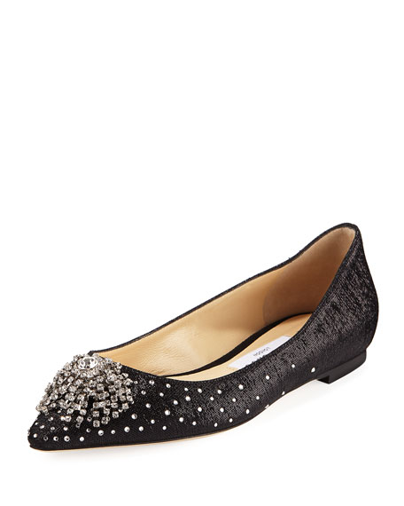 JOAN WET-LOOK FABRIC FLAT WITH FIREWORK CRYSTAL