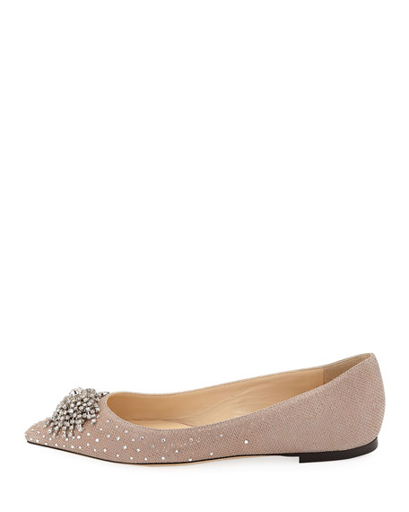 Joan Glitter Mesh Flat with Firework Crystal