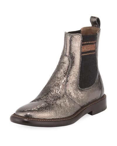 Metallic Leather Chelsea Bootie