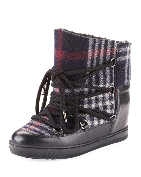 Nowles Plaid-Print Snow Boots, Black