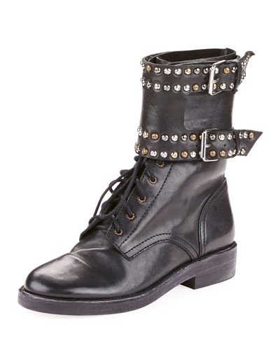 Teylon Studded Buckle Leather Bootie