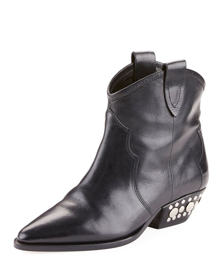 Dawyna Point-Toe Stud-Heel Western Bootie, Black