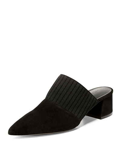 Raven Suede Mule with Pleated Strap, Black