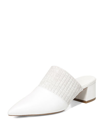 Raven Leather Mule with Pleated Strap, White