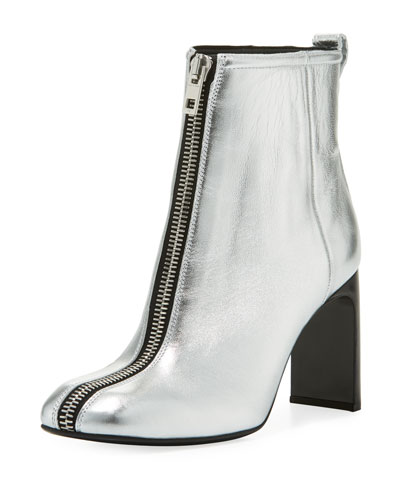 Ellis Zip-Front Ankle Boot  Silver