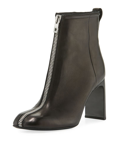 Ellis Zip-Front Ankle Boot, Black