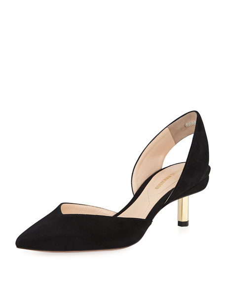 Polly Slingback 55Mm Suede Pumps, Black
