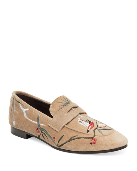 Embroidered Suede Penny Loafer, Wine, Beige
