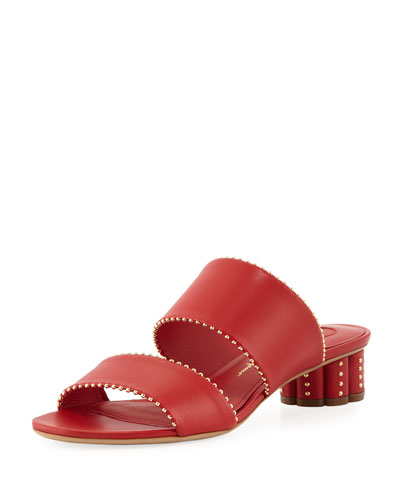 Calfskin Leather Studded Slide Sandal