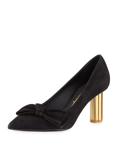 Suede 70mm Pump with Bow, Black