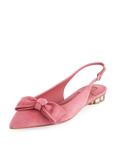 Suede Bow Slingback Flat