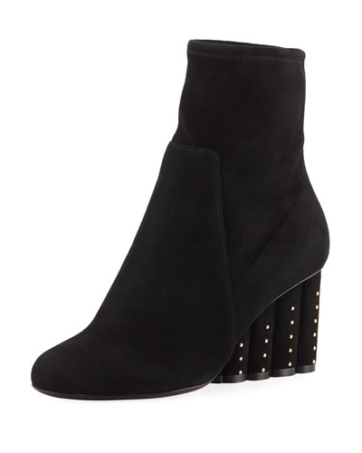 Suede Bootie with Studded Heel