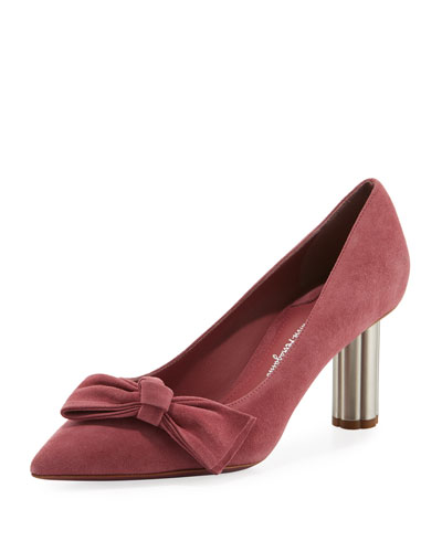 Suede 70mm Pump with Bow, Pink