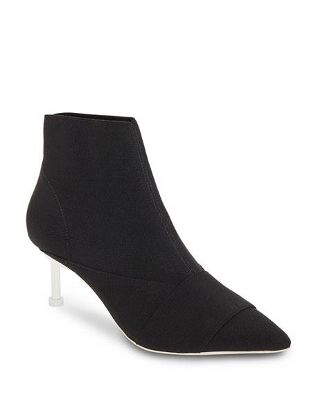 Elastic Booties With Contrast Heel in Black/ Ivory