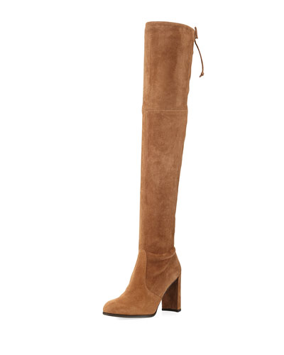 Hiline Suede Over-The-Knee Boot, Nutmeg