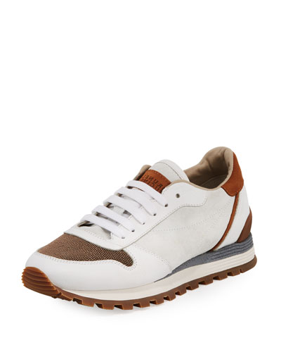 Suede and Leather Runner Sneaker