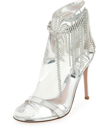 Crystal-Fringed Specchio Leather Sandals - Silver Size 6