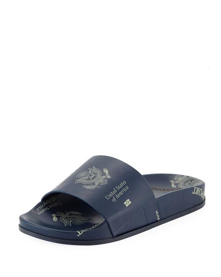 Passport-Print Pool Slide Sandals