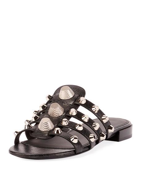Mixed-Stud Leather Slide Flat Sandal in Black