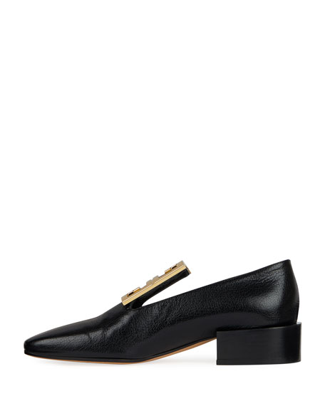 Leather High-Vamp Loafer With 4G Logo, Black