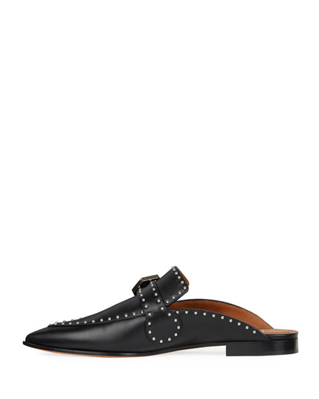 Elegant Studded Leather Backless Loafers, Black