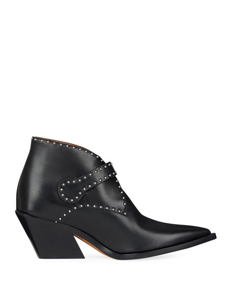 Elegant Studded Leather Ankle Boots, Black