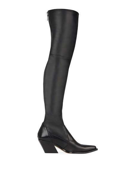 Leather Over-The-Knee Boots - Black Size 6.5