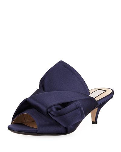 Pleated Satin Slide Sandal