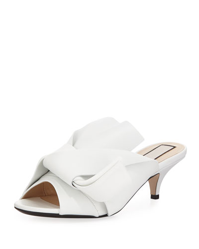 Pleated Napa Leather Low-Heel Slide Sandal