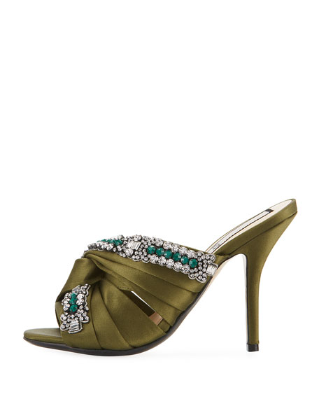 Satin Sandal with Crystals