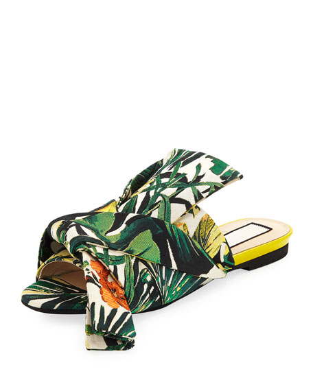 Palm Leaf Jacquard Flat Bow Slide Sandal by No. 21