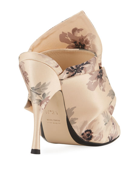 Floral-Print Satin Sandal