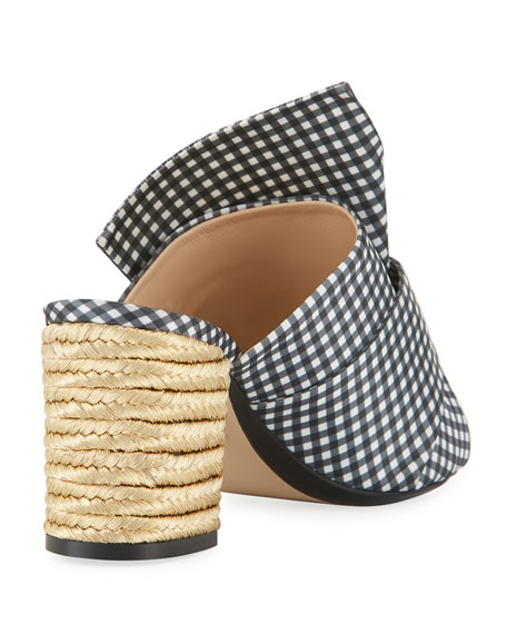 Gingham Slide Mule Sandal