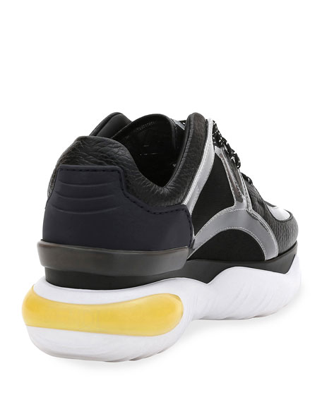 Leather and Mesh Trainer Sneakers