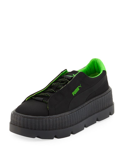 Cleated Creeper Surf Sneaker, Black/Green