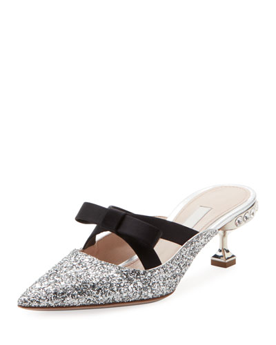 Jeweled Glitter Mule with Bow
