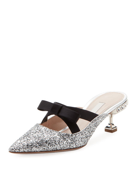 Glitter And Bow-Embellished Mules in Metallic