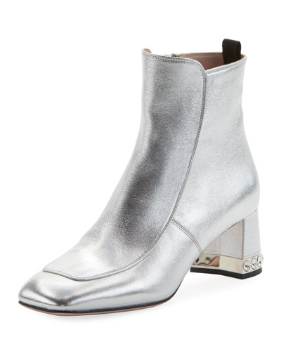 Metallic Napa Block-Heel Boot