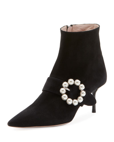 Suede Bootie with Pearly Buckle
