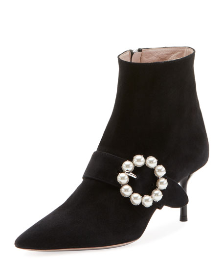 65Mm Embellished Buckle Suede Ankle Boot, Black